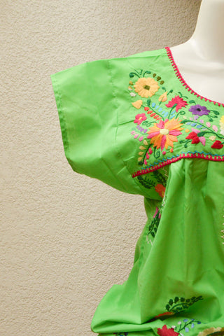 Embroidered Mexican Dress | Green - Alebrije Huichol Mexican Folk art magiamexica.com