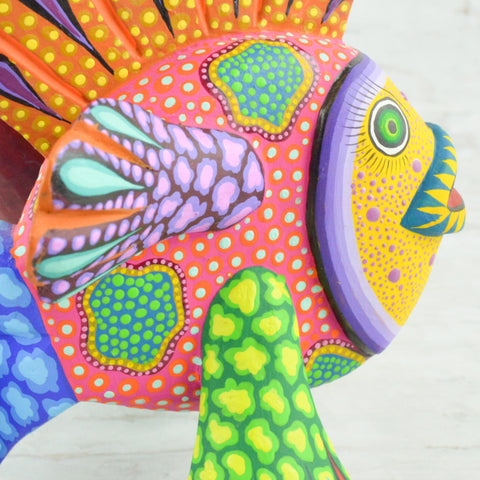 Image of Fish Alebrije Oaxacan Wood Carving - Alebrije Huichol Mexican Folk art magiamexica.com