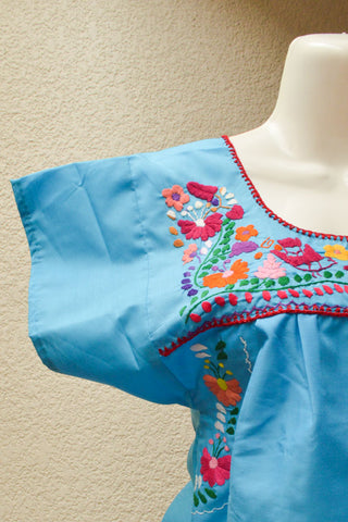 Image of Embroidered Mexican Dress | Light Blue - Alebrije Huichol Mexican Folk art magiamexica.com