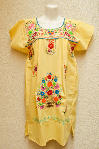 Image of Embroidered Mexican Dress | Baby Yellow - Alebrije Huichol Mexican Folk art magiamexica.com