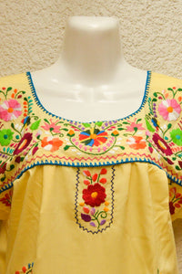 Embroidered Mexican Dress | Baby Yellow - Alebrije Huichol Mexican Folk art magiamexica.com