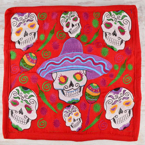 Embroidered Pillow Cover | Red 3 - Magia Mexica