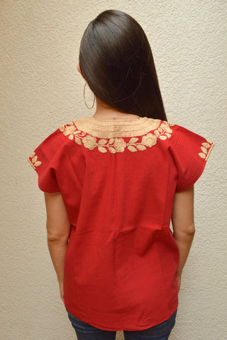 Image of Embroidered Mexican Blouse | Red - Alebrije Huichol Mexican Folk art magiamexica.com