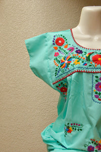 Embroidered Mexican Dress | Mint - Alebrije Huichol Mexican Folk art magiamexica.com