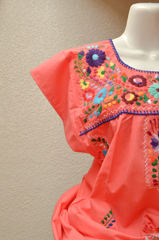 Embroidered Mexican Dress | Strawberry - Alebrije Huichol Mexican Folk art magiamexica.com