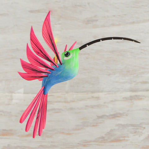 Image of Hummingbird 10 Set Alebrije Oaxacan Wood Carving - Magia Mexica