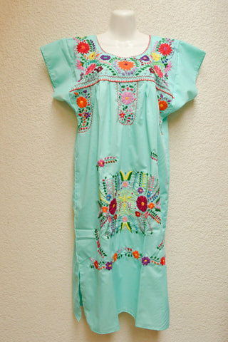 Image of Embroidered Mexican Dress | Mint - Alebrije Huichol Mexican Folk art magiamexica.com