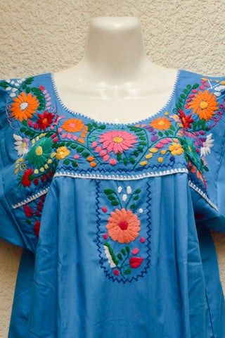 Image of Embroidered Mexican Dress | Blue - Alebrije Huichol Mexican Folk art magiamexica.com