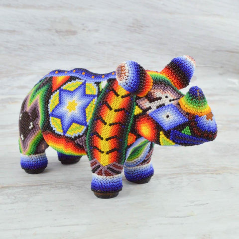 Image of Huichol Art Beaded Animals Rhino - Magia Mexica
