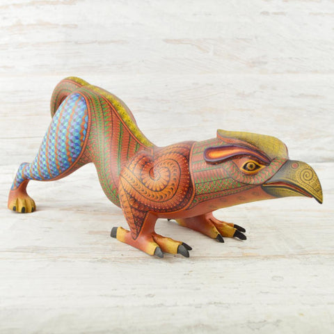 Image of Alebrije Oaxacan Wood Carving Eagle Jaguar Fusion - Magia Mexica