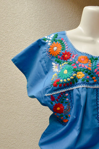 Embroidered Mexican Dress | Blue - Alebrije Huichol Mexican Folk art magiamexica.com