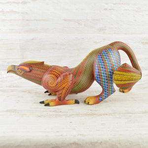Alebrije Oaxacan Wood Carving Eagle Jaguar Fusion - Magia Mexica