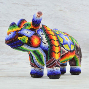 Huichol Art Beaded Animals Rhino - Magia Mexica