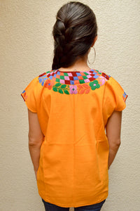 Embroidered Mexican Blouse | Amber - Alebrije Huichol Mexican Folk art magiamexica.com