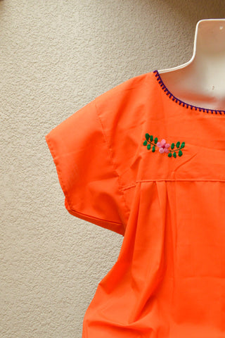 Embroidered Mexican Dress | Orange - Alebrije Huichol Mexican Folk art magiamexica.com