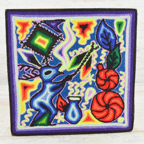 "Image of Yarn Painting Huichol Art 8"" - Huichol Mexican Folk art magiamexica.com"