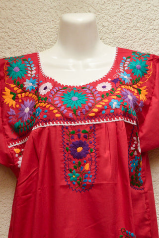 Image of Embroidered Mexican Dress | Burgundy - Alebrije Huichol Mexican Folk art magiamexica.com