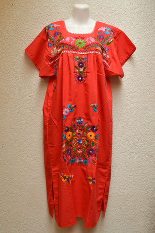Embroidered Mexican Dress | Red Orange - Alebrije Huichol Mexican Folk art magiamexica.com