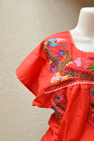 Image of Embroidered Mexican Dress | Red Orange - Alebrije Huichol Mexican Folk art magiamexica.com
