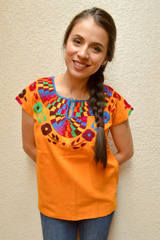 Image of Embroidered Mexican Blouse | Amber - Alebrije Huichol Mexican Folk art magiamexica.com