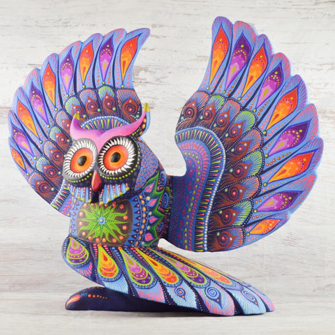 Image of Alebrije Oaxacan Wood Carving Owl - Magia Mexica