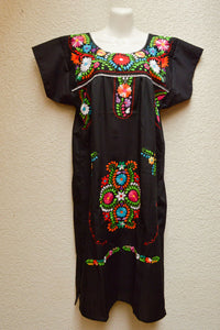 Embroidered Mexican Dress | Black - Alebrije Huichol Mexican Folk art magiamexica.com