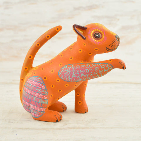 Image of Cat Alebrije Oaxacan Wood Carving - Magia Mexica