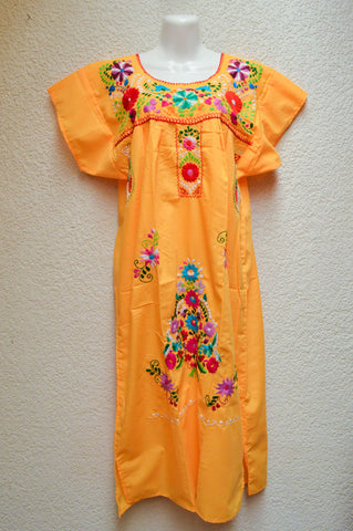 Embroidered Mexican Dress | Yellow - Alebrije Huichol Mexican Folk art magiamexica.com