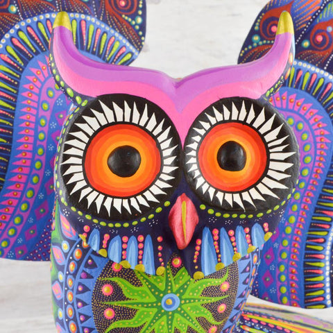 Alebrije Oaxacan Wood Carving Owl - Magia Mexica