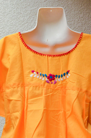 Image of Embroidered Mexican Dress | Yellow - Alebrije Huichol Mexican Folk art magiamexica.com