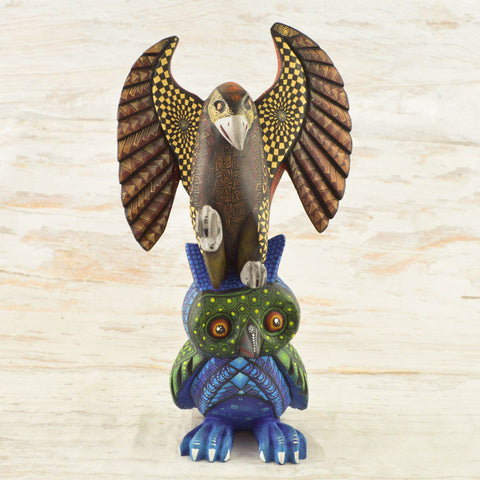 Image of Alebrije Oaxacan Wood Carving Eagle-Owl - Magia Mexica