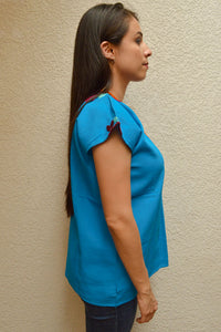 Embroidered Mexican Blouse | Light Blue - Alebrije Huichol Mexican Folk art magiamexica.com