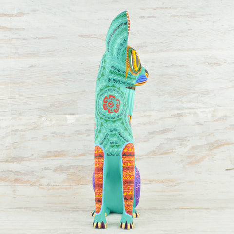 Image of Alebrije Oaxacan Wood Carving Cat - Magia Mexica