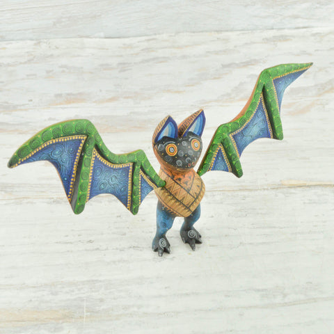 Image of Alebrije Oaxacan Wood Carving Bat - magiamexica.com