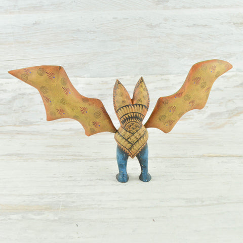 Image of Bat Alebrije Oaxacan Wood Carving - Alebrije Huichol Mexican Folk art magiamexica.com