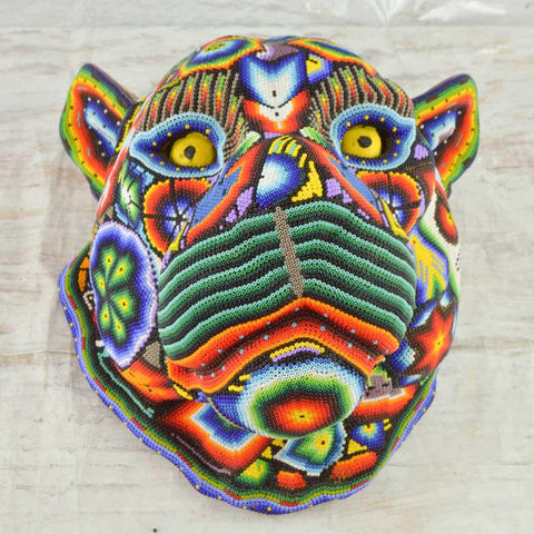 Image of Huichol Art Beaded Animals Jaguar Head - Magia Mexica