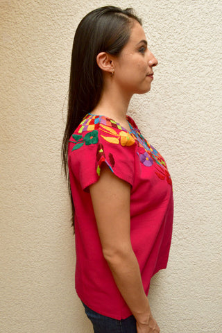 Image of Embroidered Mexican Blouse | Pink - Alebrije Huichol Mexican Folk art magiamexica.com