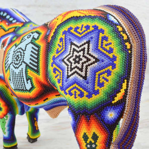 Huichol Art Beaded Animals Bull - Magia Mexica