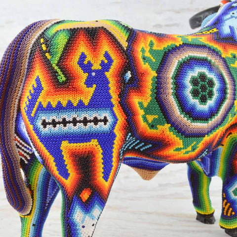 Image of Huichol Art Beaded Animals Bull - Magia Mexica