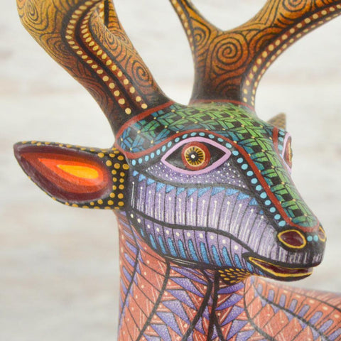 Image of Alebrije Oaxacan Wood Carving Deer - Magia Mexica