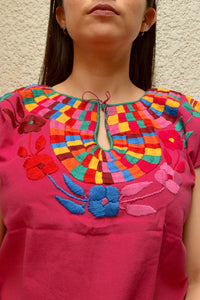 Embroidered Mexican Blouse | Pink - Alebrije Huichol Mexican Folk art magiamexica.com