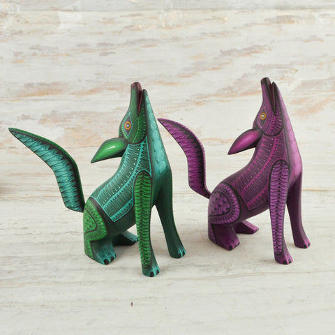 Image of Coyotes Set Alebrije Oaxacan Wood Carving - Magia Mexica