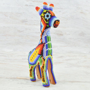 Huichol Art Beaded Animals Giraffe - Magia Mexica