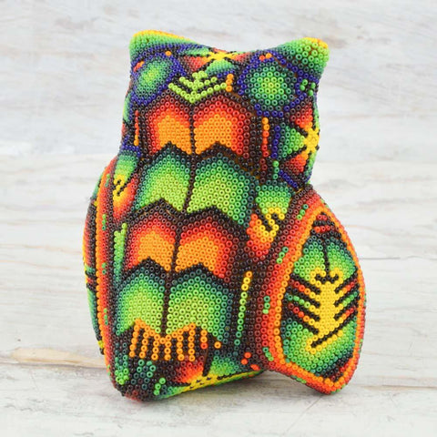 Huichol Art Beaded Animals Owl - Magia Mexica