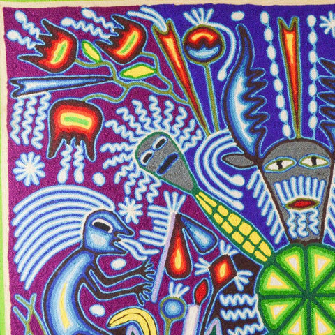 "Image of Yarn Painting Huichol Art 23"" - Huichol Mexican Folk art magiamexica.com"