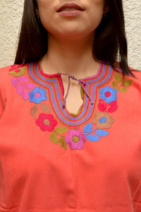 Embroidered Mexican Blouse | Coral - Alebrije Huichol Mexican Folk art magiamexica.com