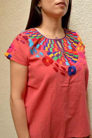 Image of Embroidered Mexican Blouse | Coral - Alebrije Huichol Mexican Folk art magiamexica.com