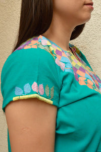 Embroidered Mexican Blouse | Turquoise - Alebrije Huichol Mexican Folk art magiamexica.com