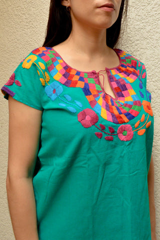 Image of Embroidered Mexican Blouse | Turquoise - Alebrije Huichol Mexican Folk art magiamexica.com