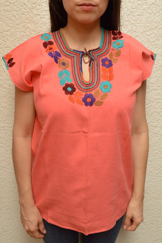 Image of Embroidered Mexican Blouse | Light Salmon - Alebrije Huichol Mexican Folk art magiamexica.com